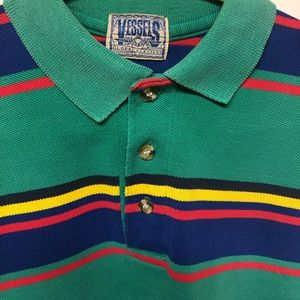 Vintage 90s Vessels Striped Polo Shirt